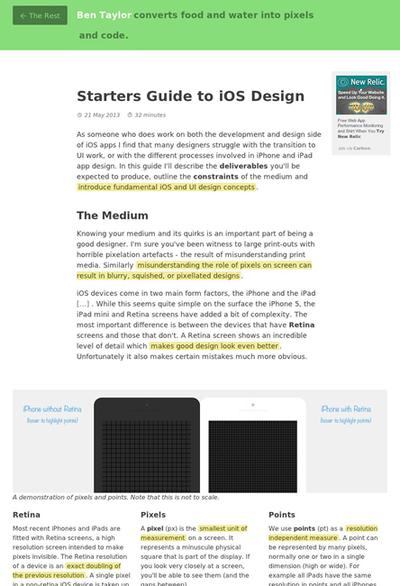 図1 iOS向けデザインのスターターガイド