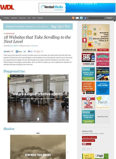 図5 ページスクロールでコンテンツを展開していくサイト