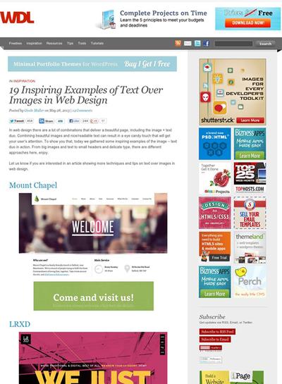 図5 画像の上に文字が重なったWebデザインのギャラリー