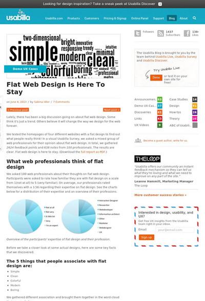 図1 フラットデザインに関する調査結果をまとめた記事