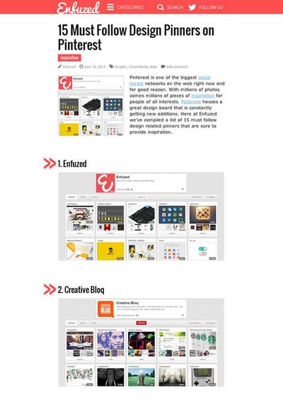 図5 デザイン関係のPinterestおすすめユーザーのリスト