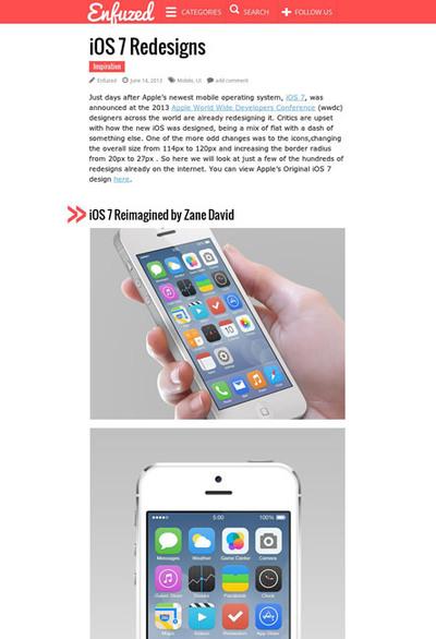 図3 iOS 7をリデザインしてみた作品の数々