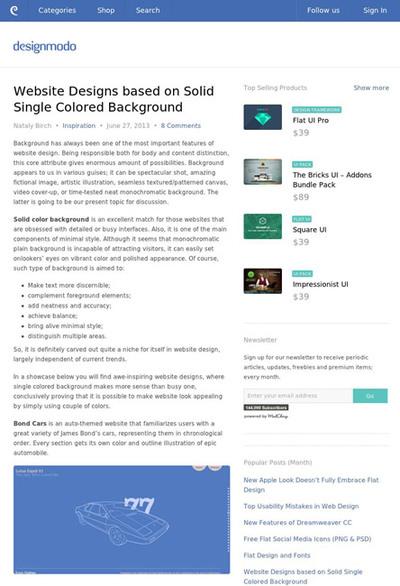 図2 はっきりした単色の背景を使ったWebデザインのギャラリー