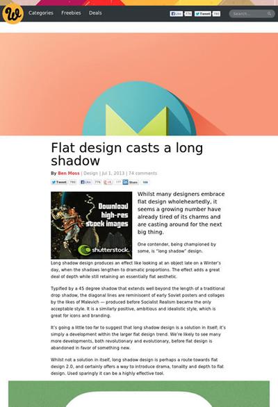 図1 フラットデザインに長い影を追加した「ロングシャドウ」について