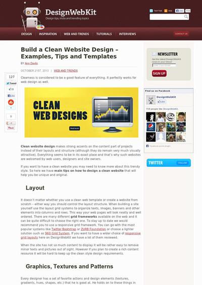 図2 クリーンなWebデザインに関する作例やテンプレート