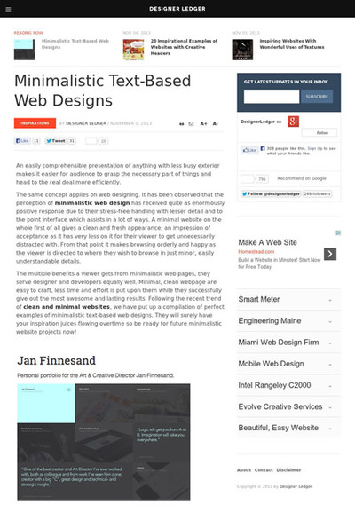図5 ミニマルな文字中心のWebデザインのギャラリー