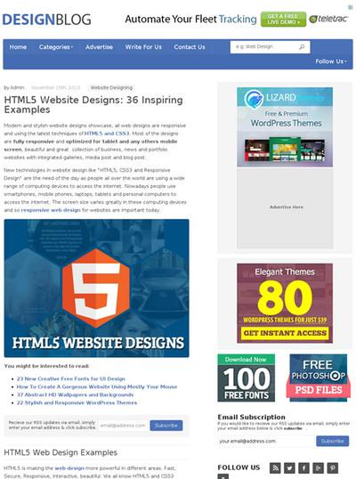 図3 HTML5で作られたWebデザインのギャラリー