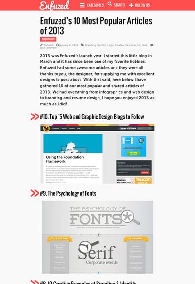 図2 Enfuzedの2013年人気記事のベスト10