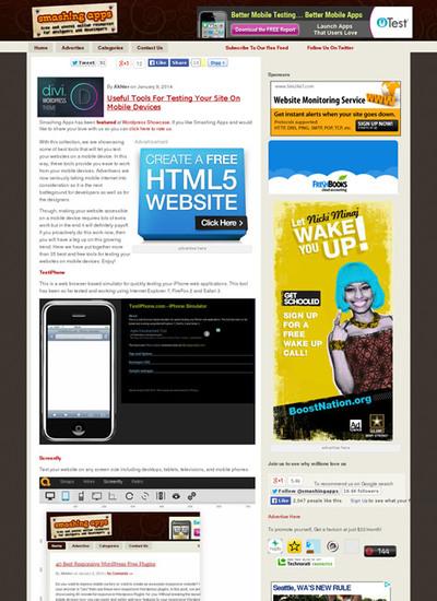 図6 モバイルデバイスでのWebページの表示チェックツール