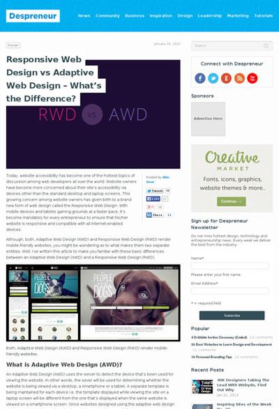 図3 レスポンシブWebデザインとアダプティブWebデザイン