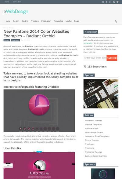 図5 2014年の流行色を使ったWebデザインのギャラリー