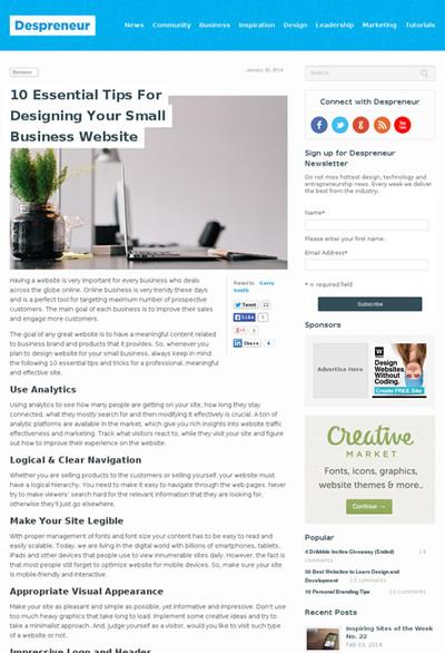 図1 スモールビジネスのWebサイトのための重要なヒント10個
