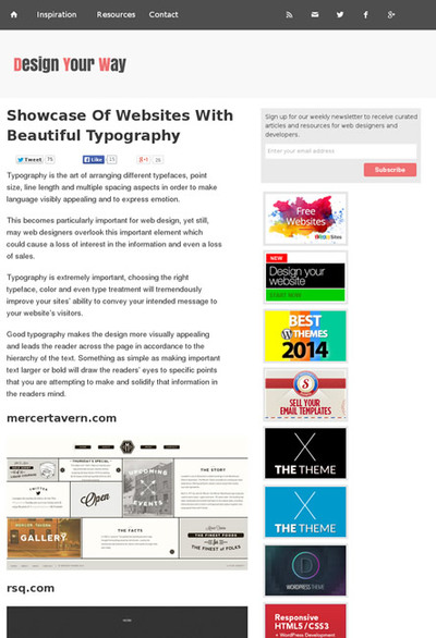図5 すばらしいタイポグラフィを使ったWebサイトのショーケース