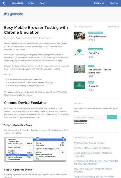 図3 Chromeでモバイル端末のブラウズをエミュレートする方法