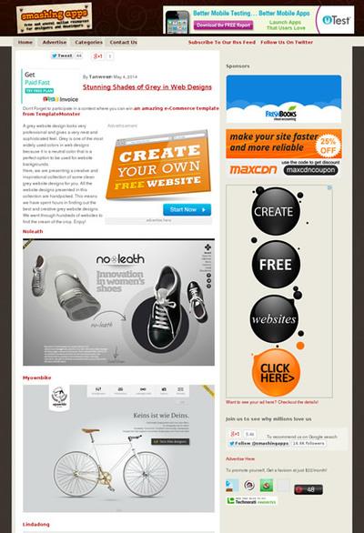 図5 グレーベースのWebデザインのギャラリー