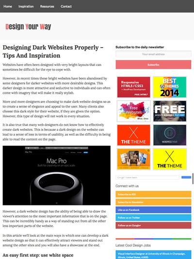 図3 黒色ベースのWebデザインを行うためのテクニックと参考例