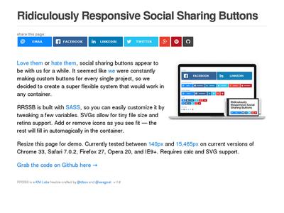 図4 レスポンシブなソーシャルメディアボタンのセット