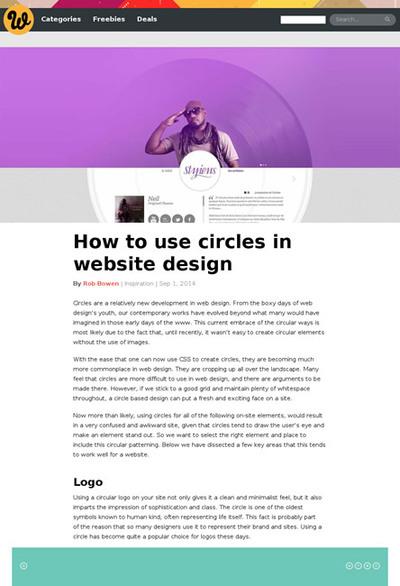 図5 円形の要素を使ったWebデザインのギャラリー