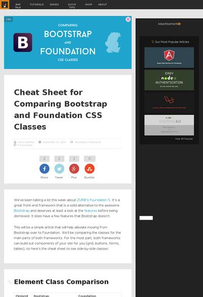 図3 BootstrapとFoundationのCSSクラスの比較表