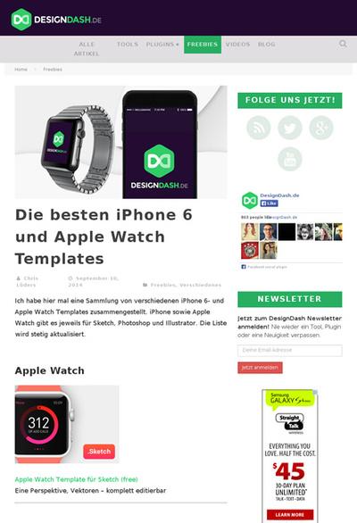 図5 Apple WatchとiPhone 6のテンプレート素材まとめ