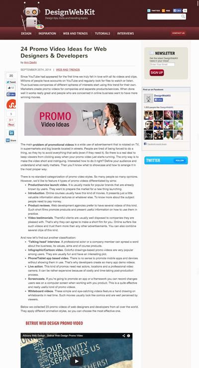 図4 Webデザイナー/デベロッパーのためのPR動画のアイデアと実例