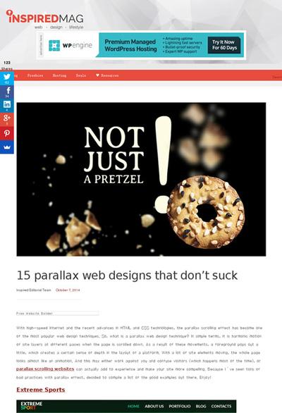 図5 パララックスを使ったWebデザインのショーケース