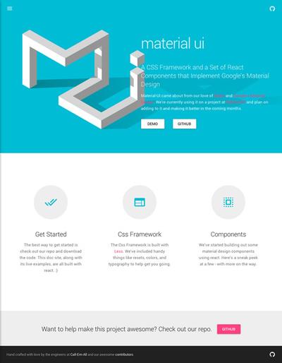 図2 マテリアルデザインのCSSフレームワーク