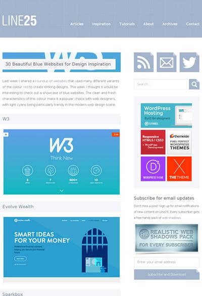 図5 青色をベースとしたWebデザインのギャラリー
