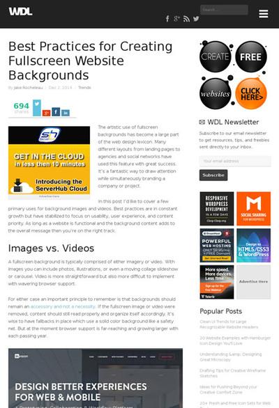 図5 フルスクリーンの背景を使ったWebサイトを作る方法