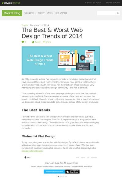 図1 2014年のWebデザインにおける良いトレンドと悪いトレンド