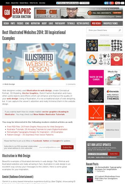図4 イラストを使用したWebデザインのギャラリー