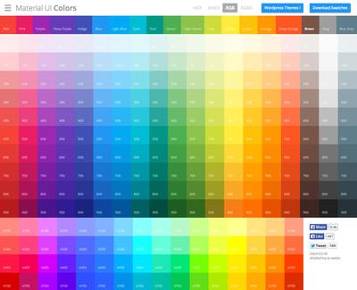 図6 マテリアルデザインのカラーパレット