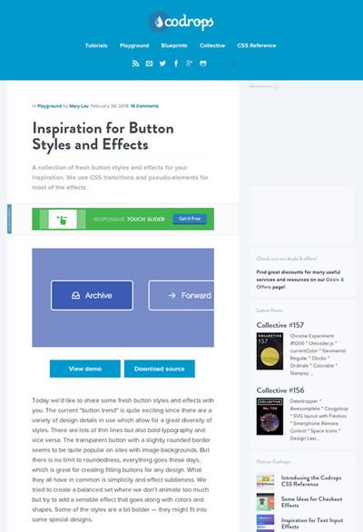 図2 CSSボタンのスタイル&エフェクトいろいろ