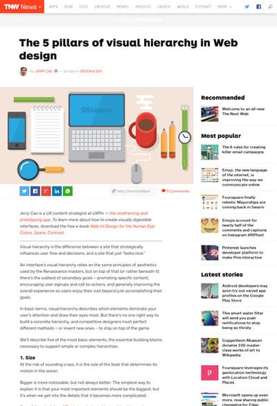 図3 Webデザインにおける視覚的な階層構造を作るポイント