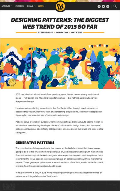 図3 2015年のWebデザインの大きなトレンドであるパターンの紹介