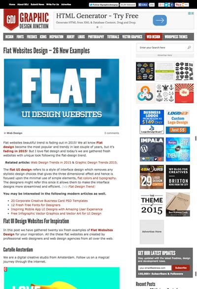 図5 フラットデザインのWebサイトのギャラリー
