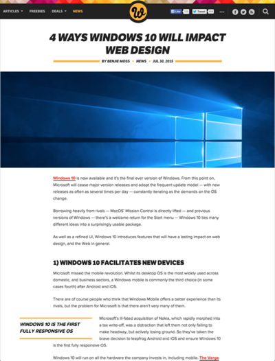 図3 Windows 10がWebデザインに与える影響4点