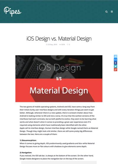 図2 iOSデザインとマテリアルデザインとの比較