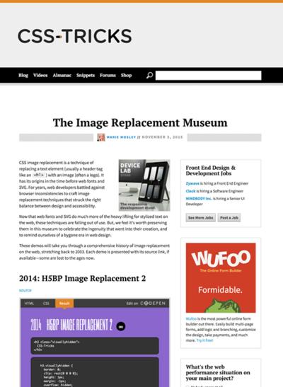 図4 CSSの画像置換テクニックの歴史