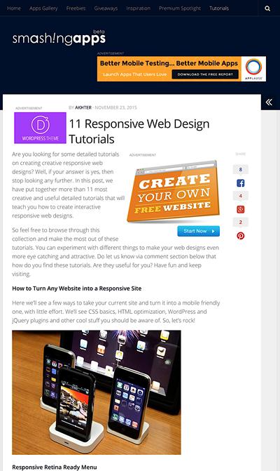 図4 レスポンシブWebデザインのチュートリアル記事いろいろ
