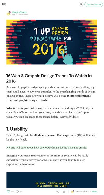 図1 2016年に目立つはずのWeb/グラフィックデザインのトレンド