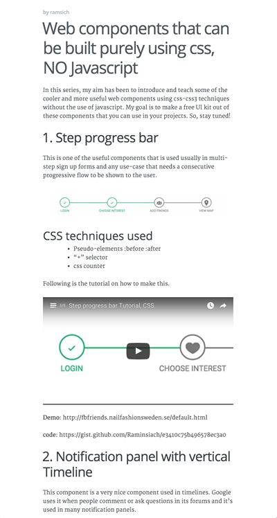 図2 CSSだけで作られたWebデザインのコンポーネントいろいろ