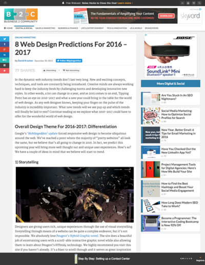 図1 2016年から17年にかけてのWebデザインのトレンド予測