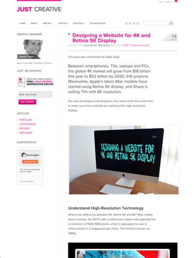 図1 4KやRetina 5Kディスプレイ向けにWebサイトをデザインする方法