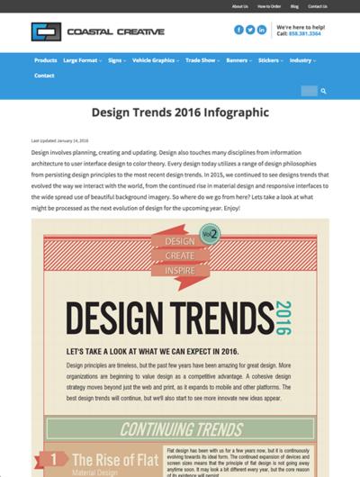 図2 2016年のWebデザインのトレンドのインフォグラフィックス