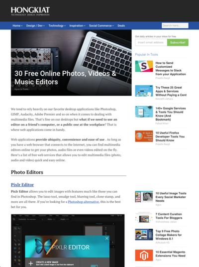 図6 画像編集,ビデオ編集,音楽編集のWebサービスいろいろ