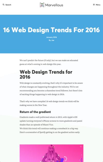 図1 2016年のWebデザインのトレンド16個