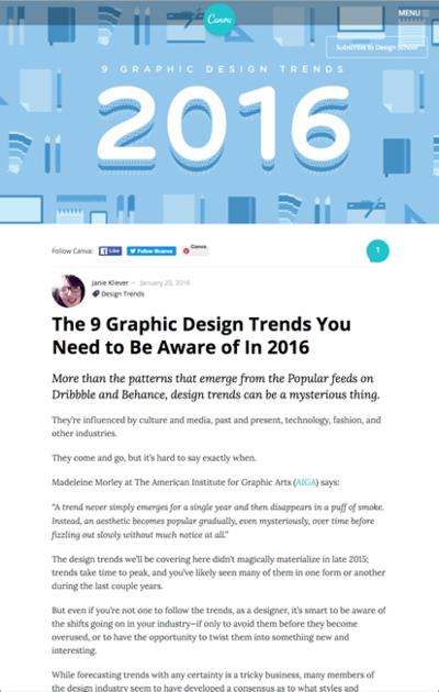 図2 2016年に知っておくべきグラフィックデザインのトレンド9個