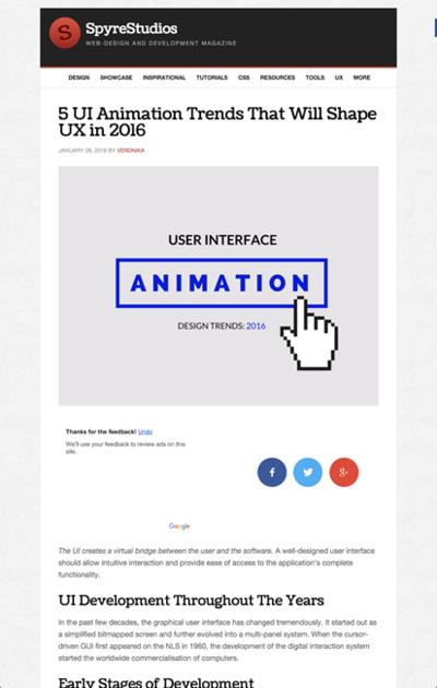図3 ユーザーインターフェイスに使われるアニメーションのトレンド