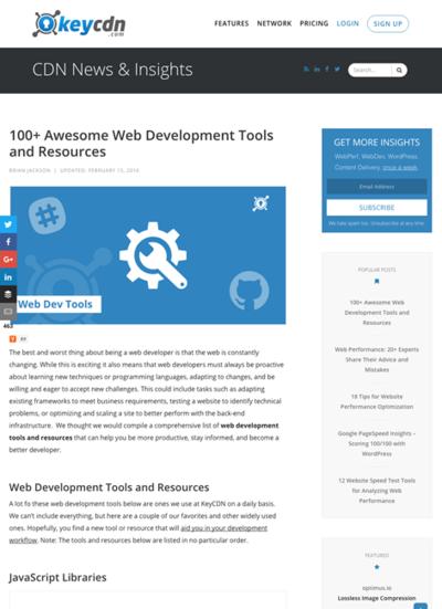 図1 Web開発者のためのツールと情報源